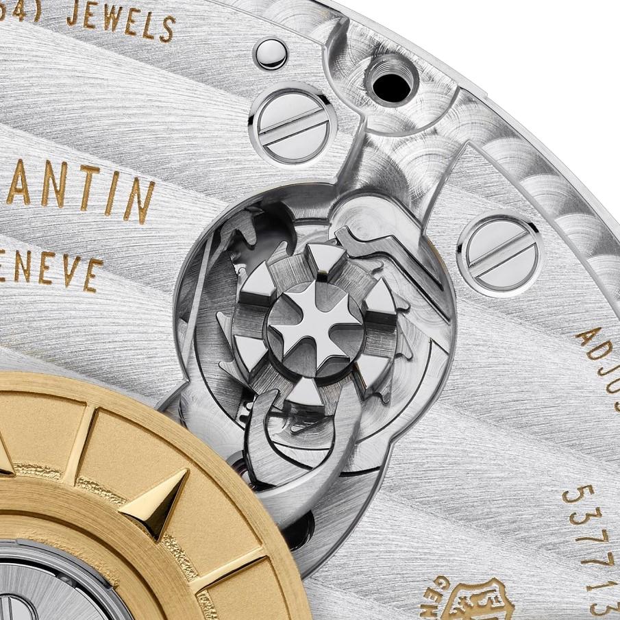 Finezyjnie zdobione koło kolumnowe kalibru 5200 - mechanizmu zegarka Overseas Chronograph