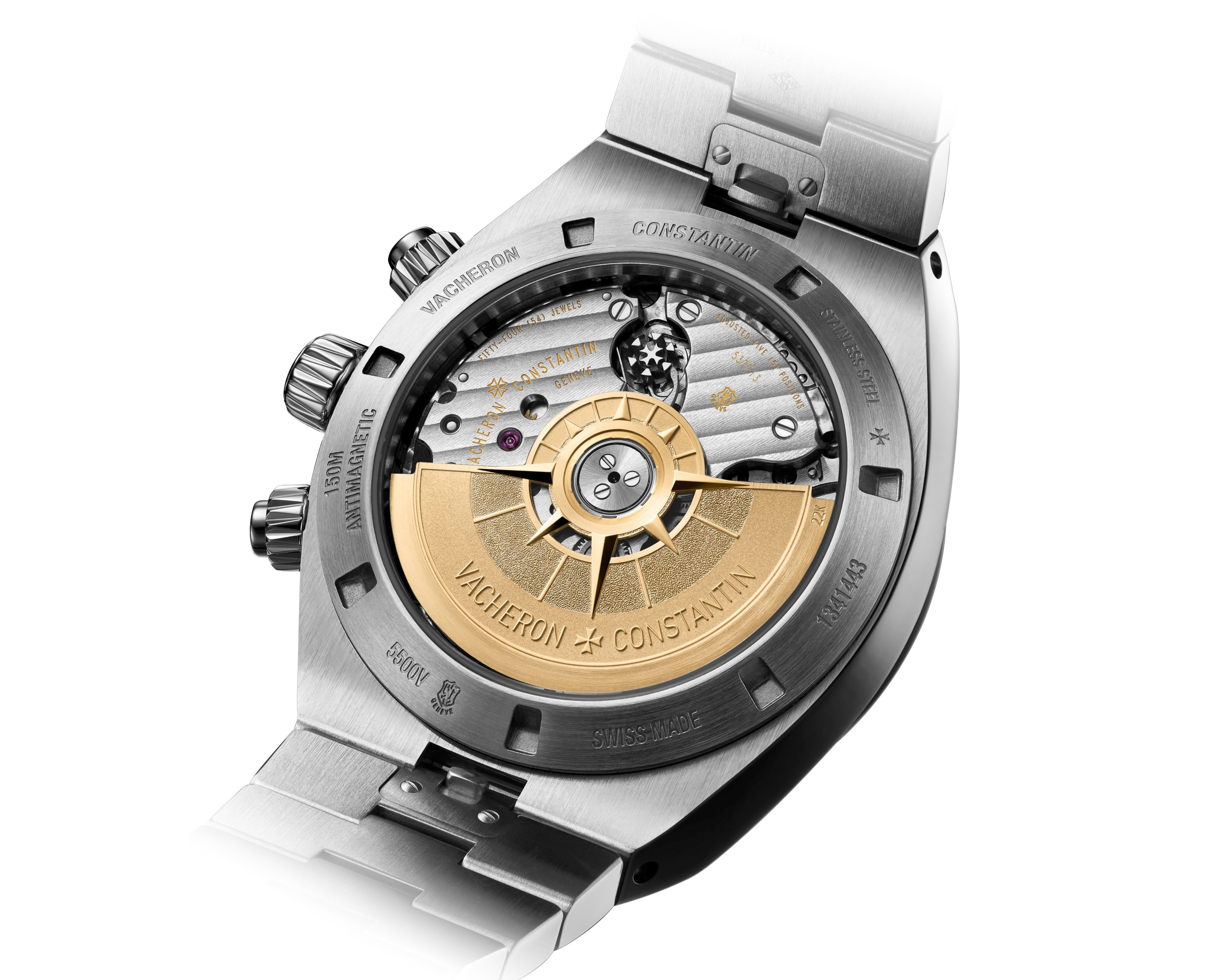 Transparentny dekiel zegarka Overseas Chronograph uwidacznia manufakturowy mechanizm ze zdobionym złotym ciężarem