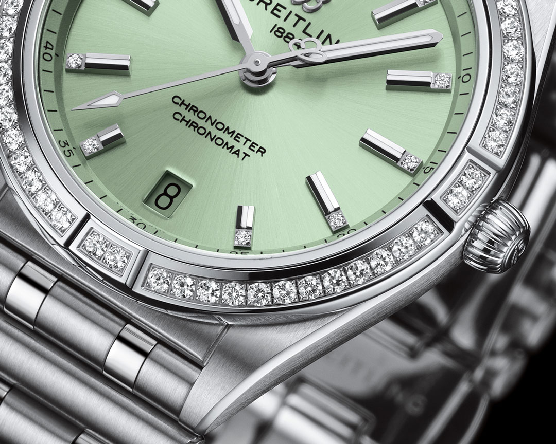 Breitling Chronomat Automatic 36 Green Dial with Diamond Set